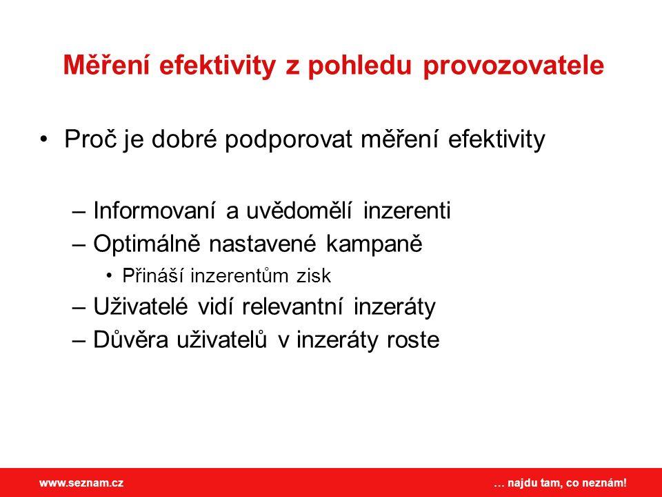… najdu tam, co neznám!www.seznam.cz Měření efektivity z pohledu provozovatele Proč je dobré podporovat měření efektivity –Informovaní a uvědomělí inz