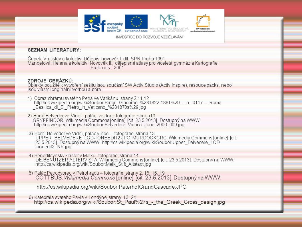 SEZNAM LITERATURY: Čapek, Vratislav a kolektiv: Dějepis, novověk I.