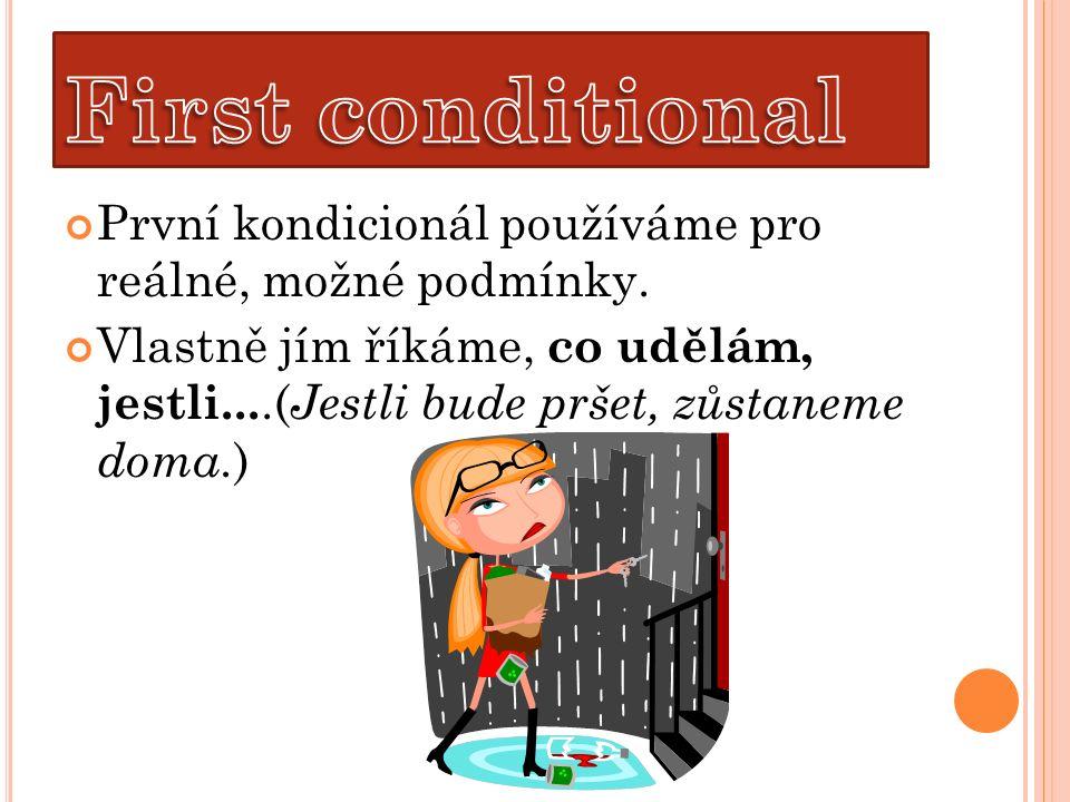 Vedlejší věta podmínková zde opět nejčastěji používá spojku IF, kterou zde můžeme přeložit jako jestli, jestliže .