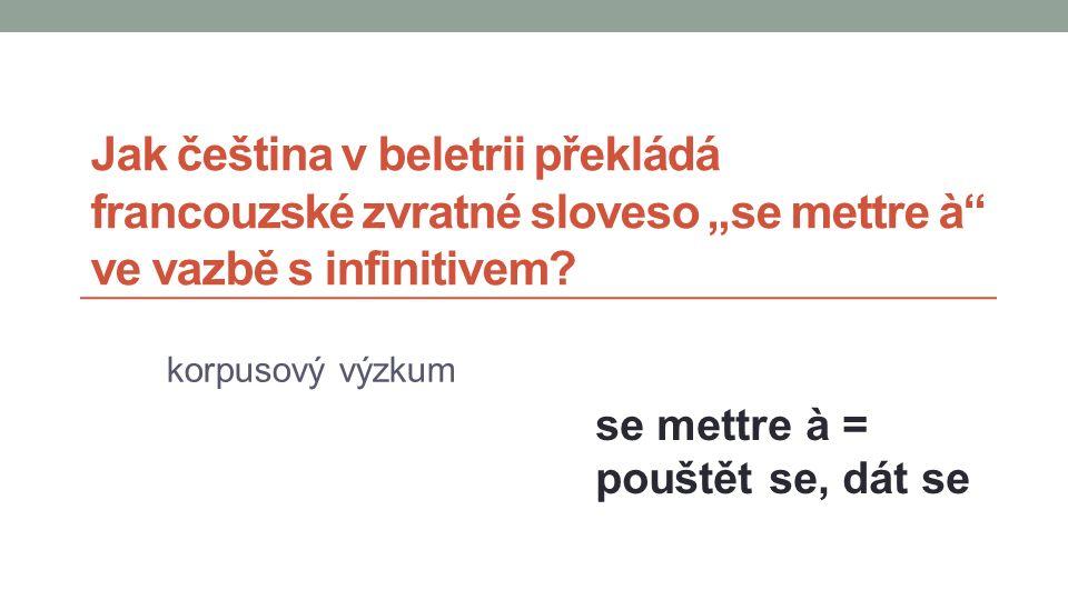 """Jak čeština v beletrii překládá francouzské zvratné sloveso """"se mettre à ve vazbě s infinitivem."""