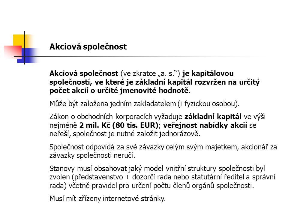 "Akciová společnost Akciová společnost (ve zkratce ""a."