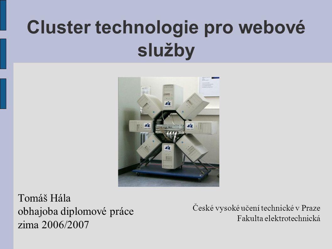 Cíle práce Analýza otevřených technologií pro konstrukci webových clusterů Srovnání s komerčními technologiemi Realizace ukázkového HA/LB webového clusteru a jeho otestování pod zátěží Návrh uživatelského rozhraní administrace webového clusteru