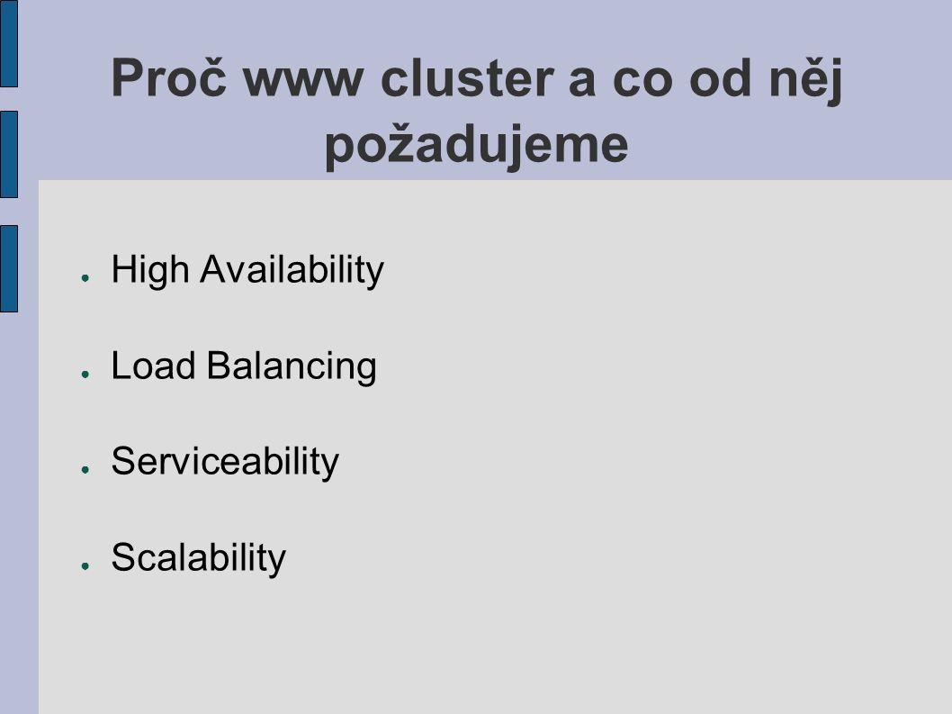 Proč www cluster a co od něj požadujeme ● High Availability ● Load Balancing ● Serviceability ● Scalability