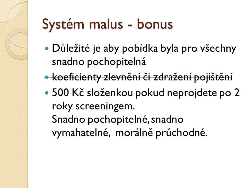 Systém malus - bonus Důležité je aby pobídka byla pro všechny snadno pochopitelná koeficienty zlevnění či zdražení pojištění 500 Kč složenkou pokud neprojdete po 2 roky screeningem.