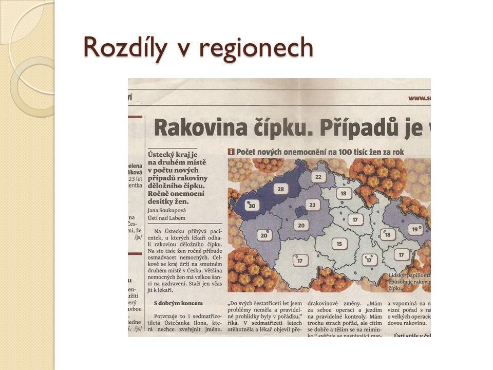 Rozdíly v regionech