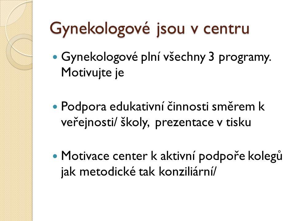 Gynekologové jsou v centru Gynekologové plní všechny 3 programy.