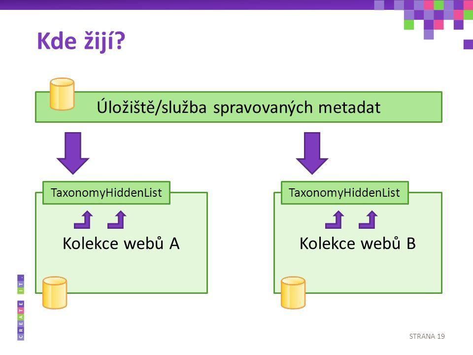 STRANA 19 Kolekce webů A Úložiště/služba spravovaných metadat Kolekce webů B TaxonomyHiddenList Kde žijí?