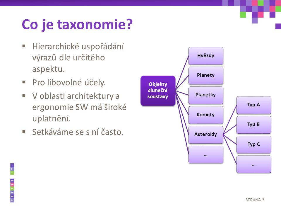 Co je taxonomie.  Hierarchické uspořádání výrazů dle určitého aspektu.