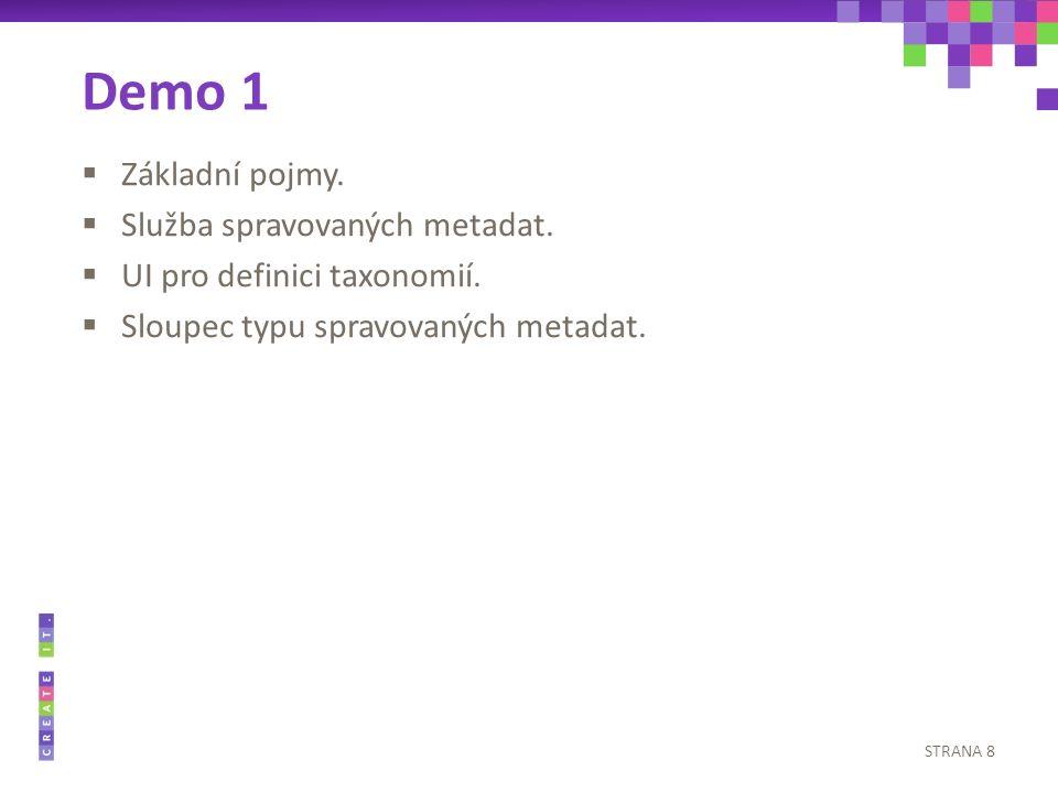  Základní pojmy.  Služba spravovaných metadat.  UI pro definici taxonomií.