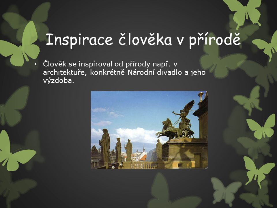 Inspirace člověka v přírodě Člověk se inspiroval od přírody např.