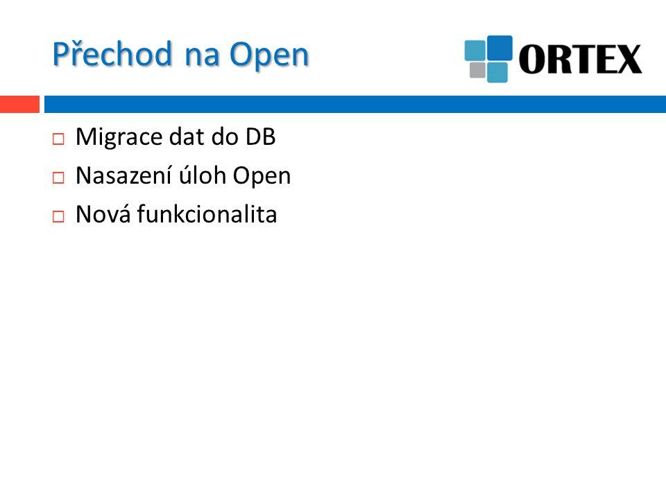Přechod na Open  Migrace dat do DB  Nasazení úloh Open  Nová funkcionalita