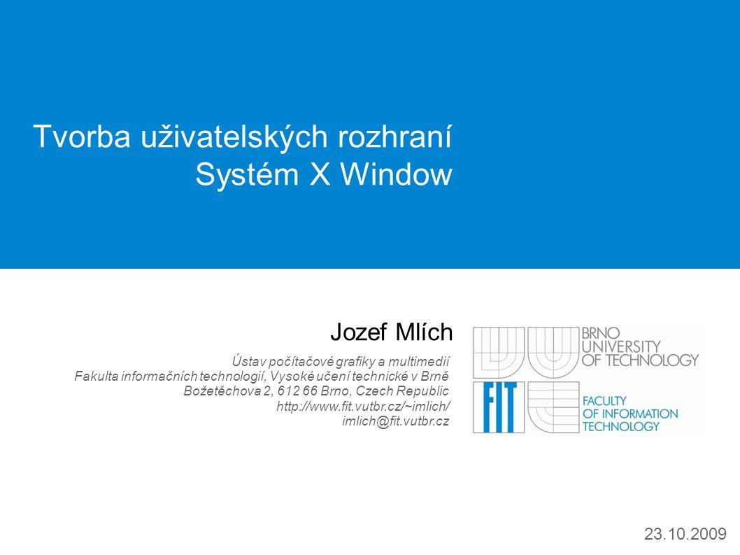 ITU: Systém X Window | 22 / http://www.fit.vutbr.cz/~imlich/ Programování XAplikací - Xlib 5 Suma sumárum: programování gui aplikací s Xlibem je hodně hardcore hodí se na low level věci – například čtečka pro slepce, analýza uživatelského rozhraní (odchytávání zpráv, apod.) – vlastní gui toolkit – hackování XServeru (akcelerace) Budoucnost XCB (X C Binding) – menší komplexnost, blíže X protokolu