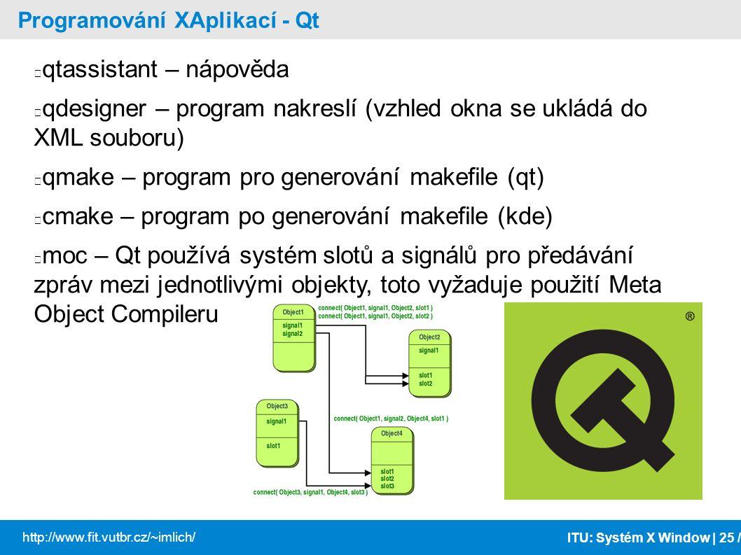 ITU: Systém X Window | 25 / http://www.fit.vutbr.cz/~imlich/ Programování XAplikací - Qt qtassistant – nápověda qdesigner – program nakreslí (vzhled o