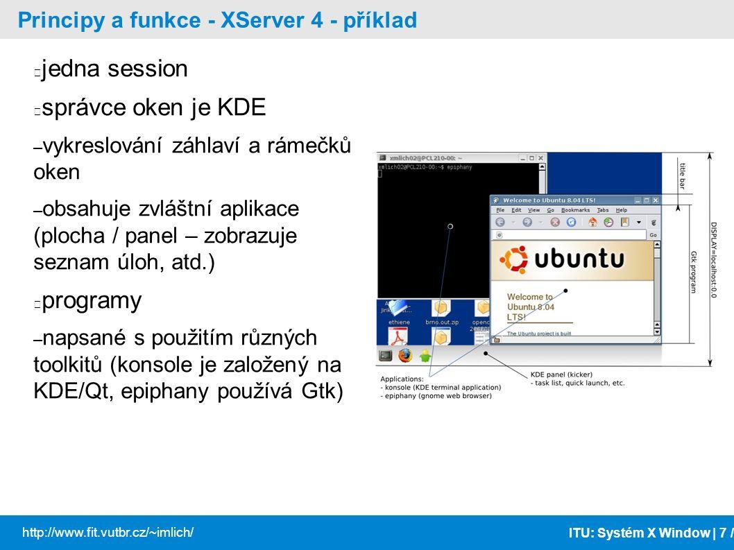 ITU: Systém X Window | 18 / http://www.fit.vutbr.cz/~imlich/ Programování XAplikací - Xlib API zpřístupňující X Protokol v C Nejdůležitější funkce – XOpenDisplay(char *display_name), XCloseDisplay, XSetCloseDownMode – char *display_name= hostname:number.screen_number – XLockDisplay, XUnlockDisplay – XAddConnectionWatch, XRemoveConnectionWatch – XCreateWindow, XCreateSimpleWindow, XDestroyWindow, XDestroySubwindows – _X11TransConnectDisplay, _X11TransGetConnectionNumber, _XSendClientPrefix, _X11TransGetConnectionNumber