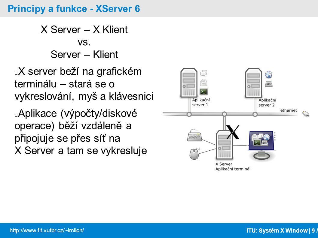 ITU: Systém X Window | 10 / http://www.fit.vutbr.cz/~imlich/ Principy a funkce - X Window Core Protocol musí podporovat každý XServer a X klient může běžet nad TCP/IP, rourou (pipe), sdílenou pamětí používají ho všechny aplikace (správce oken, správce sezení taky) XServery/Xaplikace různých výrobců jsou vzájemně kompatibilní Snaha o kompatibilitu na úrovni zdrojových kódů i na binární úrovni.