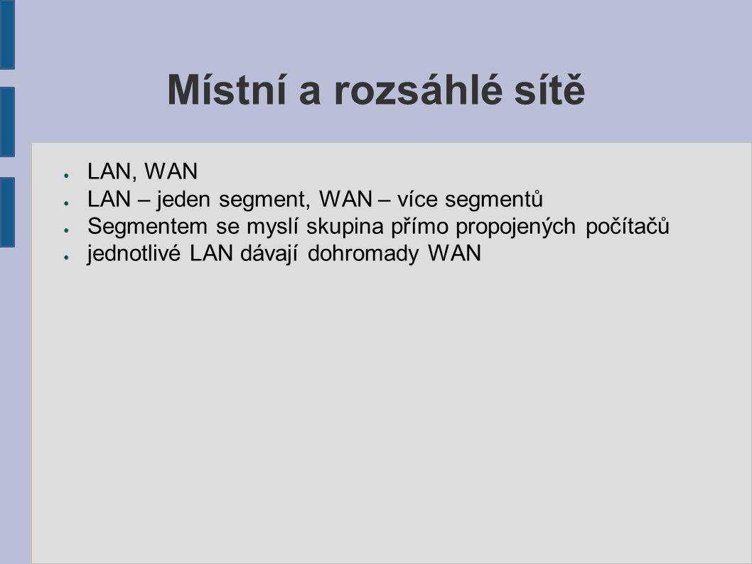 Místní a rozsáhlé sítě ● LAN, WAN ● LAN – jeden segment, WAN – více segmentů ● Segmentem se myslí skupina přímo propojených počítačů ● jednotlivé LAN dávají dohromady WAN