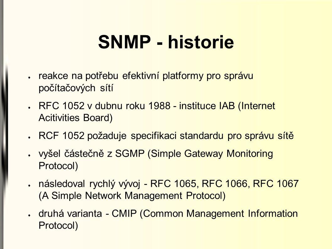 SNMP - historie ● reakce na potřebu efektivní platformy pro správu počítačových sítí ● RFC 1052 v dubnu roku 1988 - instituce IAB (Internet Acitivitie