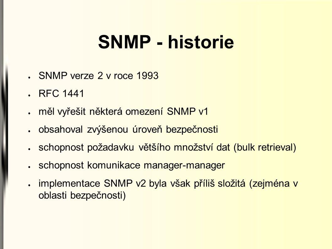 SNMP - historie ● SNMP verze 2 v roce 1993 ● RFC 1441 ● měl vyřešit některá omezení SNMP v1 ● obsahoval zvýšenou úroveň bezpečnosti ● schopnost požada