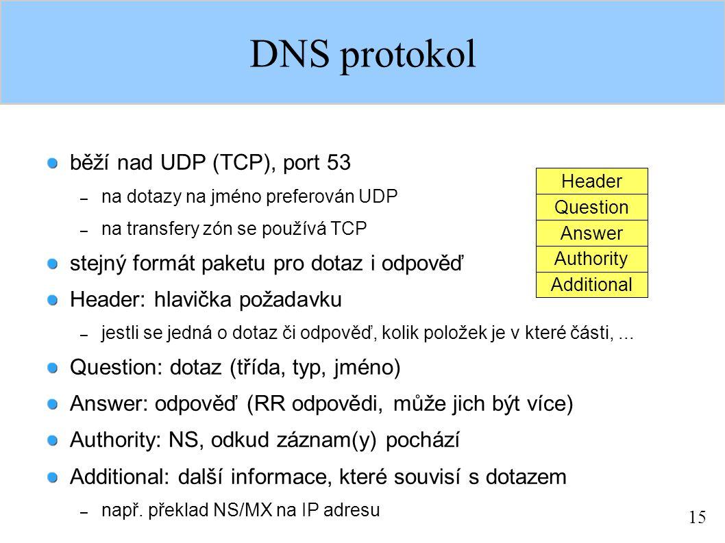 15 DNS protokol běží nad UDP (TCP), port 53 – na dotazy na jméno preferován UDP – na transfery zón se používá TCP stejný formát paketu pro dotaz i odpověď Header: hlavička požadavku – jestli se jedná o dotaz či odpověď, kolik položek je v které části,...