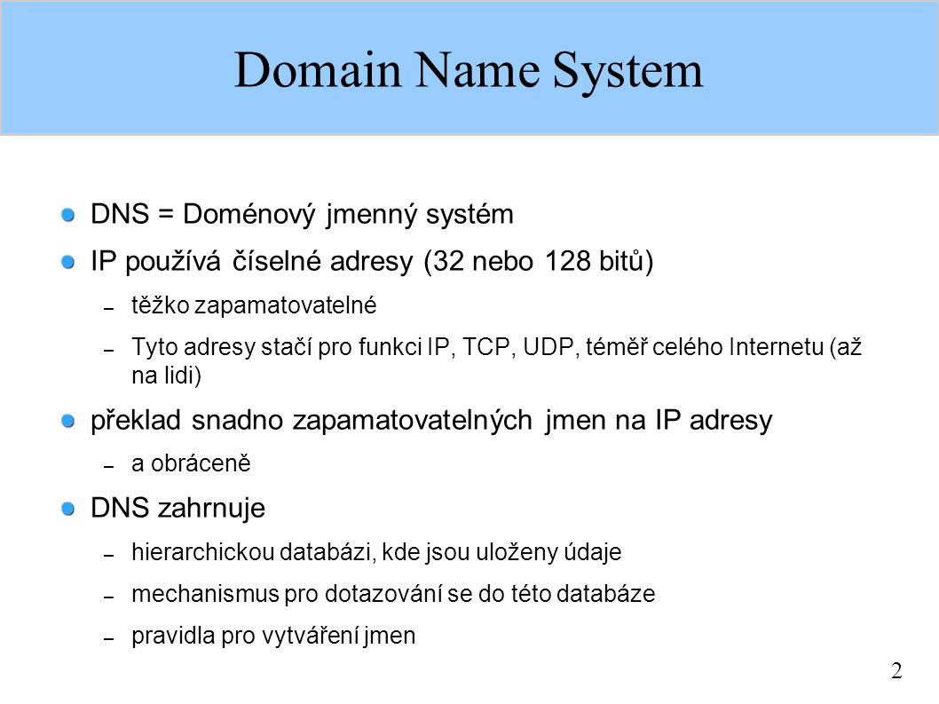 2 DNS = Doménový jmenný systém IP používá číselné adresy (32 nebo 128 bitů) – těžko zapamatovatelné – Tyto adresy stačí pro funkci IP, TCP, UDP, téměř celého Internetu (až na lidi) překlad snadno zapamatovatelných jmen na IP adresy – a obráceně DNS zahrnuje – hierarchickou databázi, kde jsou uloženy údaje – mechanismus pro dotazování se do této databáze – pravidla pro vytváření jmen Domain Name System
