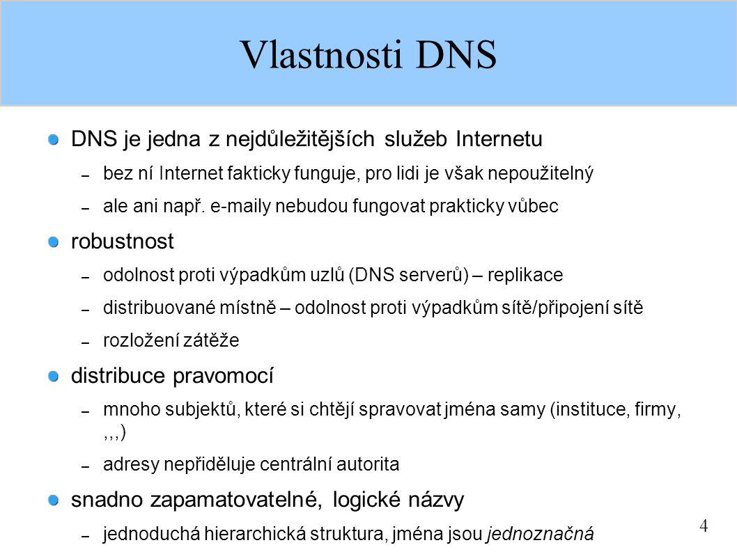 4 Vlastnosti DNS DNS je jedna z nejdůležitějších služeb Internetu – bez ní Internet fakticky funguje, pro lidi je však nepoužitelný – ale ani např.