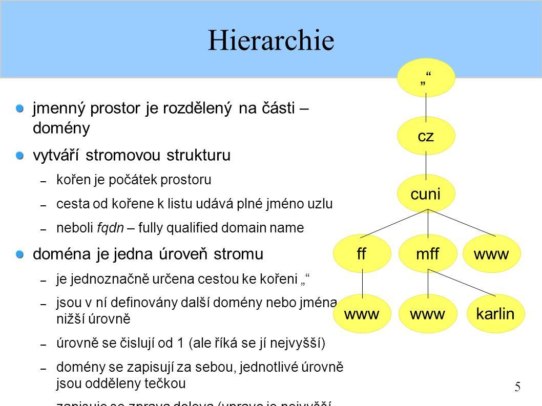 """5 Hierarchie jmenný prostor je rozdělený na části – domény vytváří stromovou strukturu – kořen je počátek prostoru – cesta od kořene k listu udává plné jméno uzlu – neboli fqdn – fully qualified domain name doména je jedna úroveň stromu – je jednoznačně určena cestou ke kořeni """" – jsou v ní definovány další domény nebo jména – nižší úrovně – úrovně se čislují od 1 (ale říká se jí nejvyšší) – domény se zapisují za sebou, jednotlivé úrovně jsou odděleny tečkou – zapisuje se zprava doleva (vpravo je nejvyšší doména – úroveń 1) cz cuni wwwmffff wwwkarlinwww """""""