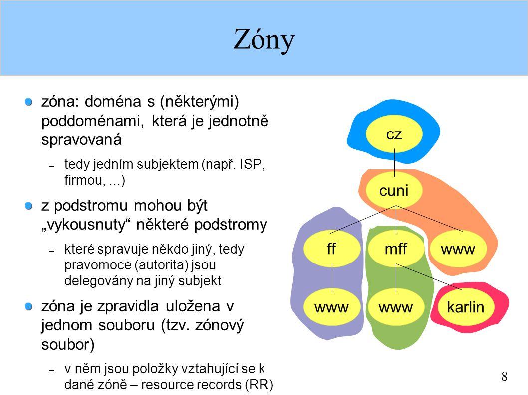 """8 Zóny gh zóna: doména s (některými) poddoménami, která je jednotně spravovaná – tedy jedním subjektem (např. ISP, firmou,...) z podstromu mohou být """""""