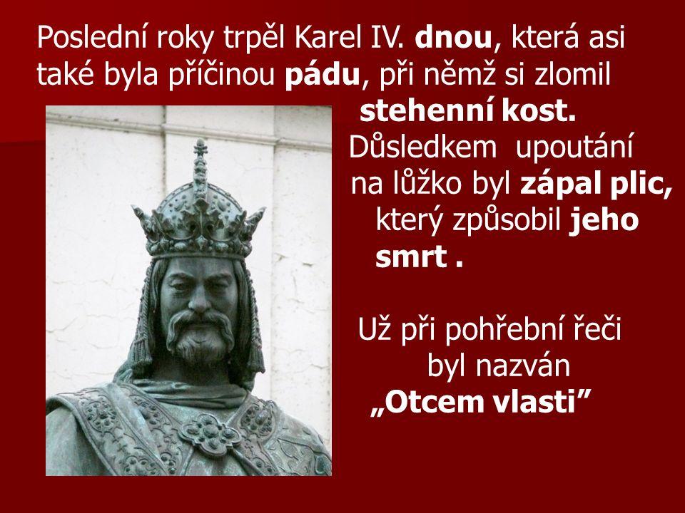 Poslední roky trpěl Karel IV. dnou, která asi také byla příčinou pádu, při němž si zlomil stehenní kost. Důsledkem upoutání na lůžko byl zápal plic, k