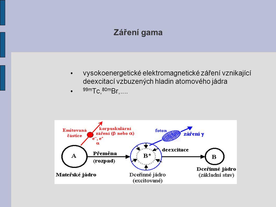 Záření gama vysokoenergetické elektromagnetické záření vznikající deexcitací vzbuzených hladin atomového jádra 99m Tc, 80m Br,....