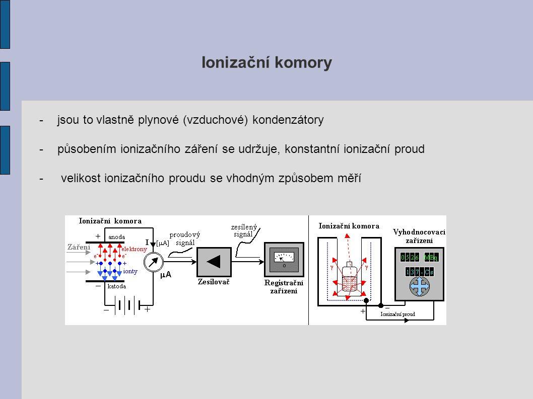 Ionizační komory -jsou to vlastně plynové (vzduchové) kondenzátory -působením ionizačního záření se udržuje, konstantní ionizační proud - velikost ionizačního proudu se vhodným způsobem měří