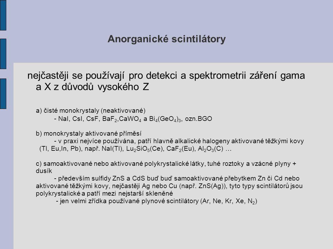Anorganické scintilátory nejčastěji se používají pro detekci a spektrometrii záření gama a X z důvodů vysokého Z a) čisté monokrystaly (neaktivované) - NaI, CsI, CsF, BaF 2,CaWO 4 a Bi 4 (GeO 4 ) 3, ozn.BGO b) monokrystaly aktivované příměsí - v praxi nejvíce používána, patří hlavně alkalické halogeny aktivované těžkými kovy (Tl, Eu,In, Pb), např.