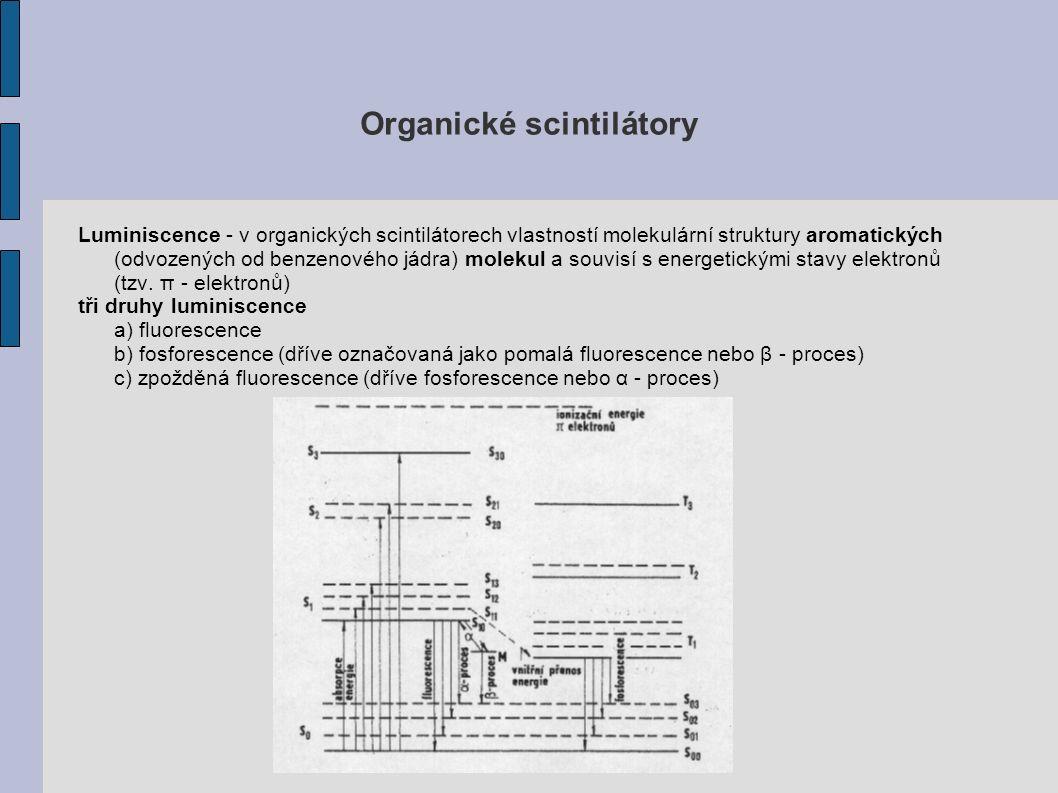 Organické scintilátory Luminiscence - v organických scintilátorech vlastností molekulární struktury aromatických (odvozených od benzenového jádra) molekul a souvisí s energetickými stavy elektronů (tzv.