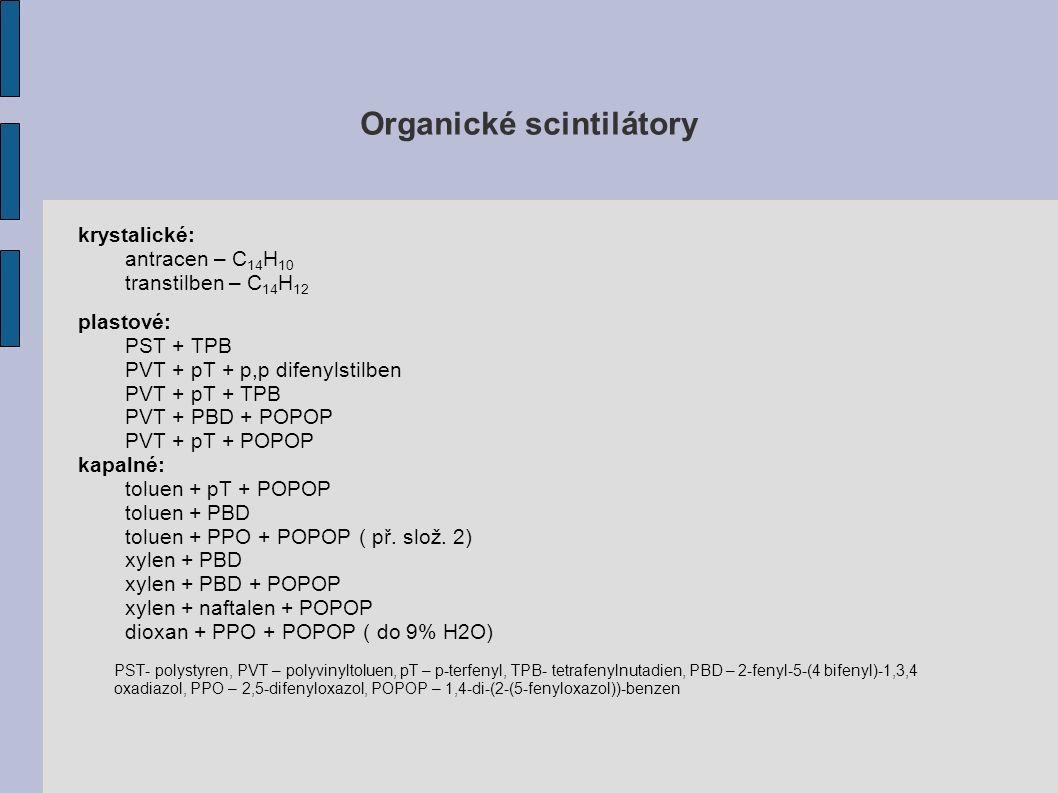 Organické scintilátory krystalické: antracen – C 14 H 10 transtilben – C 14 H 12 plastové: PST + TPB PVT + pT + p,p difenylstilben PVT + pT + TPB PVT + PBD + POPOP PVT + pT + POPOP kapalné: toluen + pT + POPOP toluen + PBD toluen + PPO + POPOP ( př.