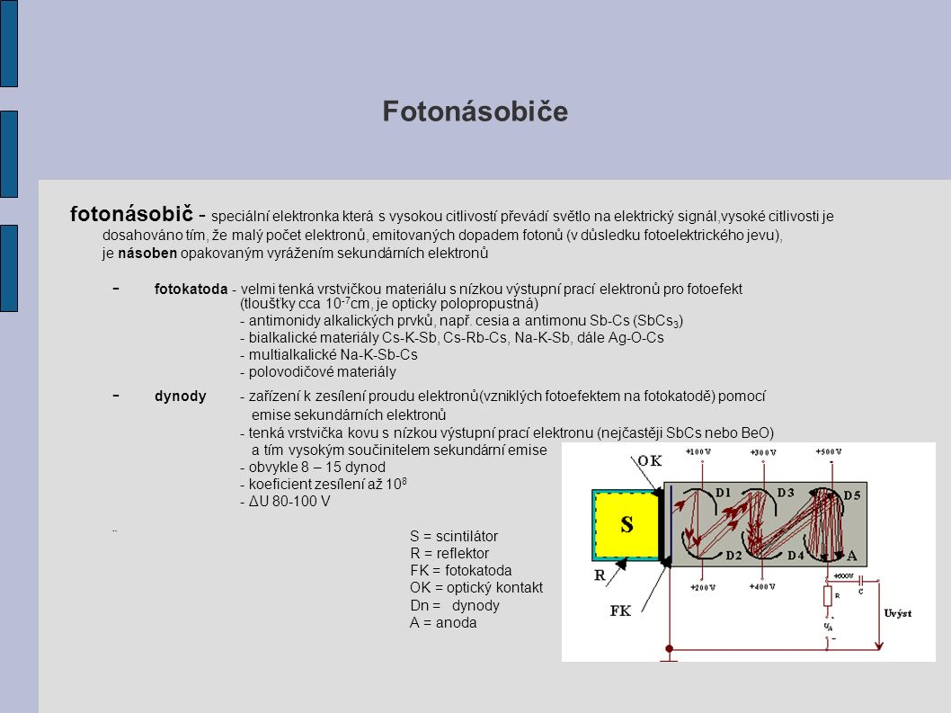 Fotonásobiče fotonásobič - speciální elektronka která s vysokou citlivostí převádí světlo na elektrický signál,vysoké citlivosti je dosahováno tím, že malý počet elektronů, emitovaných dopadem fotonů (v důsledku fotoelektrického jevu), je násoben opakovaným vyrážením sekundárních elektronů - fotokatoda - velmi tenká vrstvičkou materiálu s nízkou výstupní prací elektronů pro fotoefekt (tloušťky cca 10 -7 cm, je opticky polopropustná) - antimonidy alkalických prvků, např.