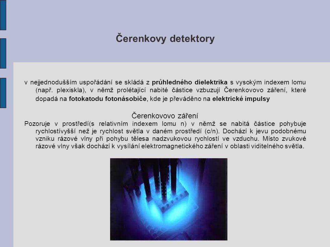 Čerenkovy detektory v nejjednodušším uspořádání se skládá z průhledného dielektrika s vysokým indexem lomu (např.