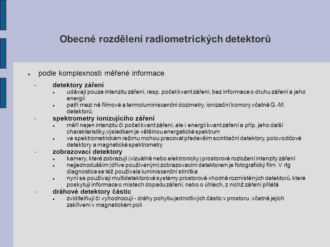 Obecné rozdělení radiometrických detektorů podle komplexnosti měřené informace  detektory záření udávají pouze intenzitu záření, resp.