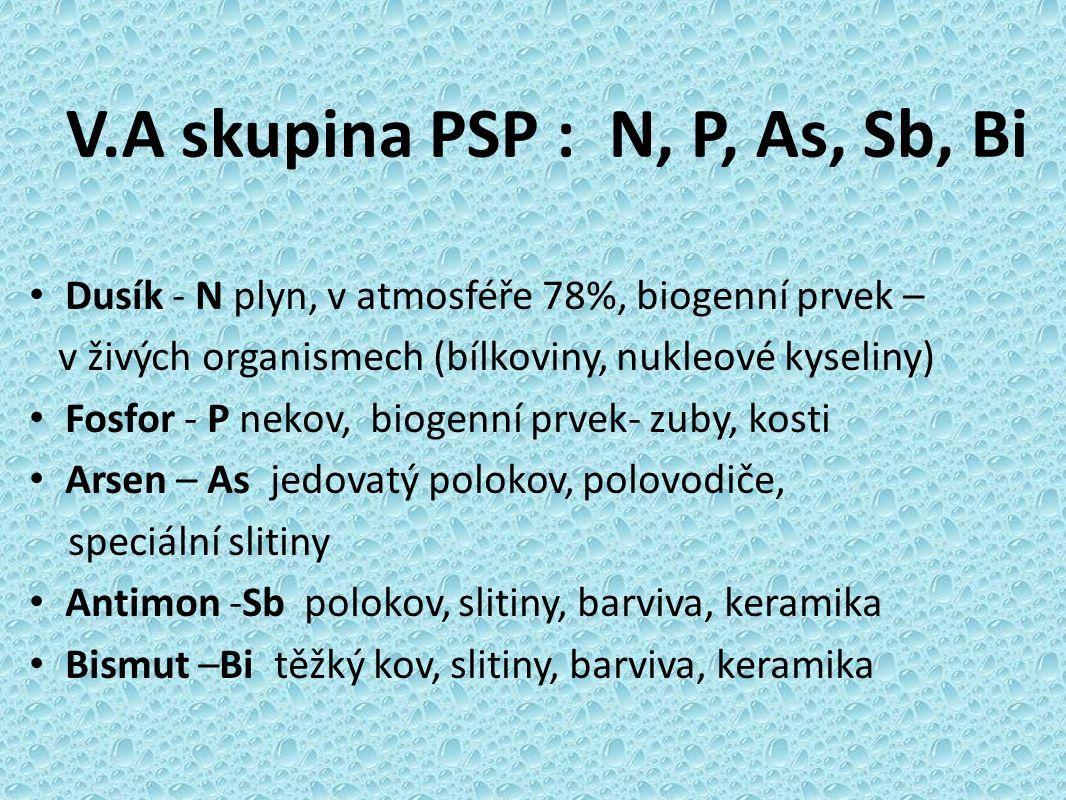 V.A skupina PSP : N, P, As, Sb, Bi Dusík - N plyn, v atmosféře 78%, biogenní prvek – v živých organismech (bílkoviny, nukleové kyseliny) Fosfor - P nekov, biogenní prvek- zuby, kosti Arsen – As jedovatý polokov, polovodiče, speciální slitiny Antimon -Sb polokov, slitiny, barviva, keramika Bismut –Bi těžký kov, slitiny, barviva, keramika