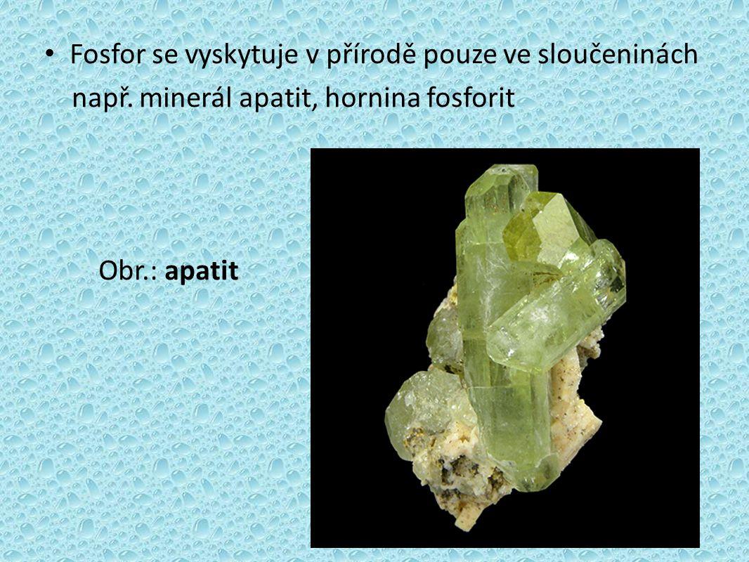 Fosfor je biogenní prvek, je součástí zubů a kostí, bílkovin (fosfoproteiny), nukleových kyselin 3 modifikace fosforu (bílý, červený, černý)