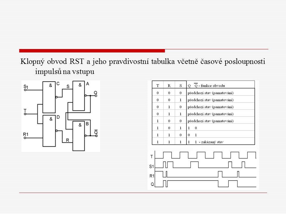 Klopný obvod RST a jeho pravdivostní tabulka včetně časové posloupnosti impulsů na vstupu