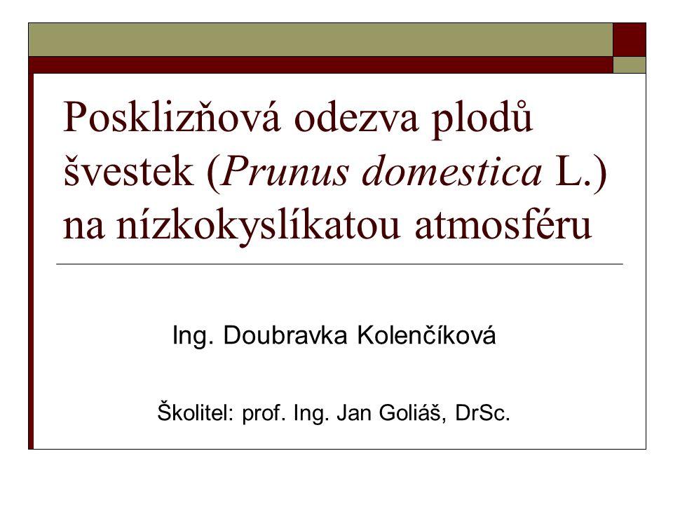 Posklizňová odezva plodů švestek (Prunus domestica L.) na nízkokyslíkatou atmosféru Ing.