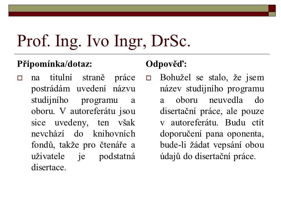 Prof. Ing. Ivo Ingr, DrSc.