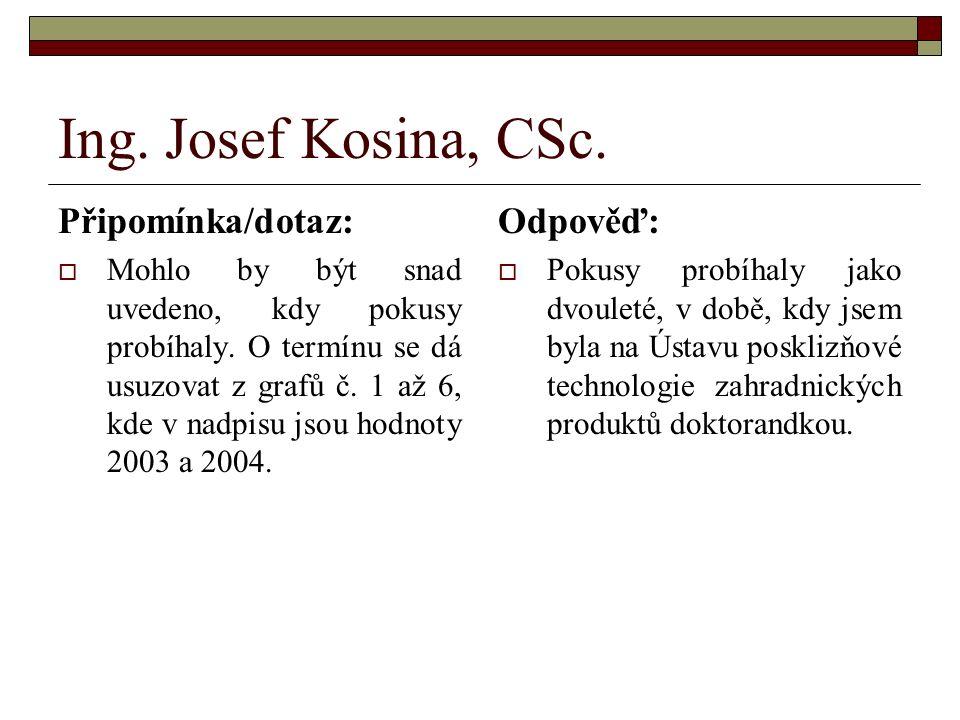 Ing. Josef Kosina, CSc. Připomínka/dotaz:  Mohlo by být snad uvedeno, kdy pokusy probíhaly.