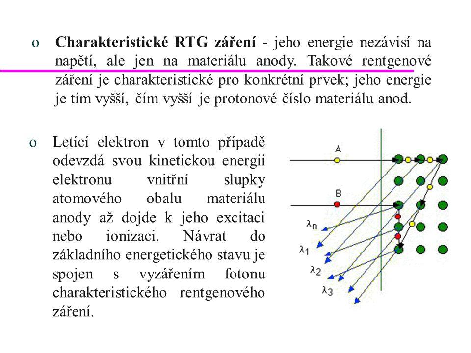 oCharakteristické záření se označuje následujícím způsobem: oprvkem anody, oenergetickou hladinou, ze které byl elektron vyražen, oz kolikáté hladiny se uskutečnil přeskok elektronu na uprázdněné místo a to tak, že od hladiny, z níž byl elektron vyražen, se první následující hladina označuje , další  atd.