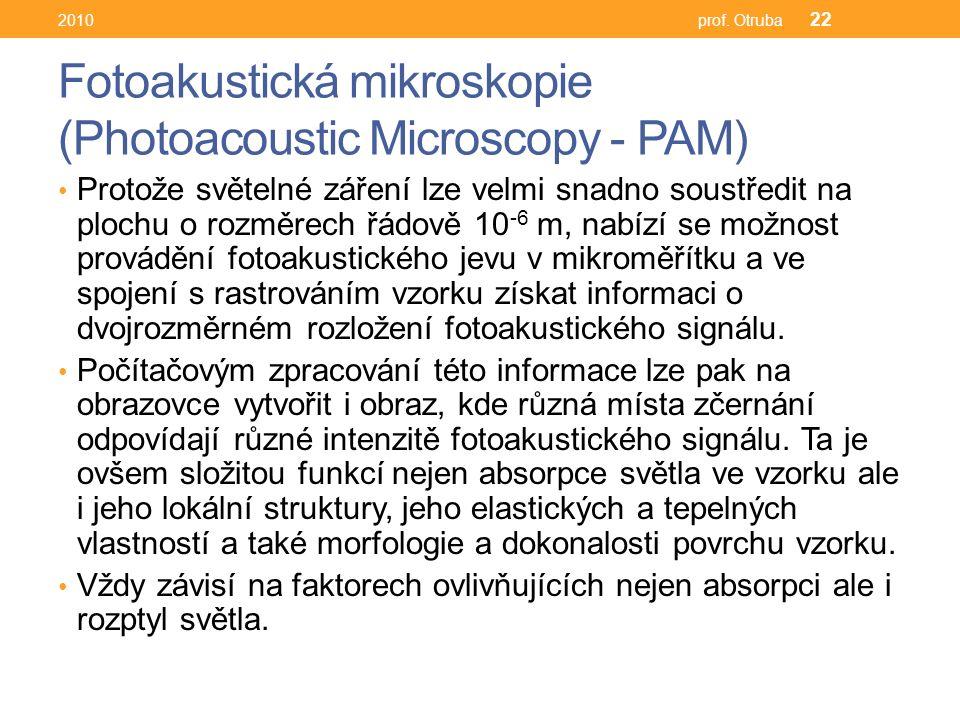 Fotoakustická mikroskopie (Photoacoustic Microscopy - PAM) Protože světelné záření lze velmi snadno soustředit na plochu o rozměrech řádově 10 -6 m, nabízí se možnost provádění fotoakustického jevu v mikroměřítku a ve spojení s rastrováním vzorku získat informaci o dvojrozměrném rozložení fotoakustického signálu.
