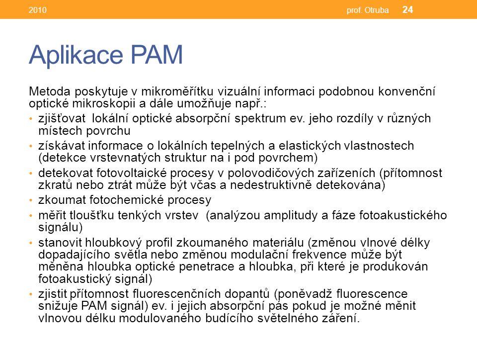 Aplikace PAM Metoda poskytuje v mikroměřítku vizuální informaci podobnou konvenční optické mikroskopii a dále umožňuje např.: zjišťovat lokální optické absorpční spektrum ev.