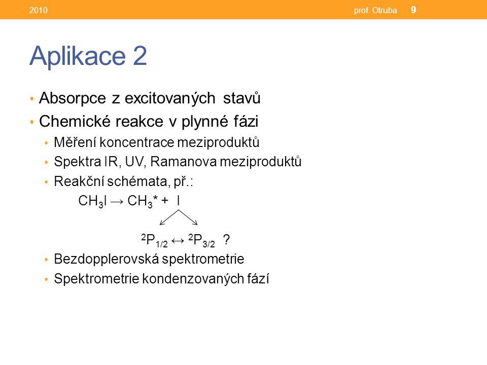 Aplikace 2 Absorpce z excitovaných stavů Chemické reakce v plynné fázi Měření koncentrace meziproduktů Spektra IR, UV, Ramanova meziproduktů Reakční schémata, př.: CH 3 I → CH 3 * + I 2 P 1/2 ↔ 2 P 3/2 .