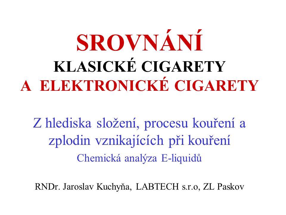 SROVNÁNÍ KLASICKÉ CIGARETY A ELEKTRONICKÉ CIGARETY Z hlediska složení, procesu kouření a zplodin vznikajících při kouření Chemická analýza E-liquidů RNDr.