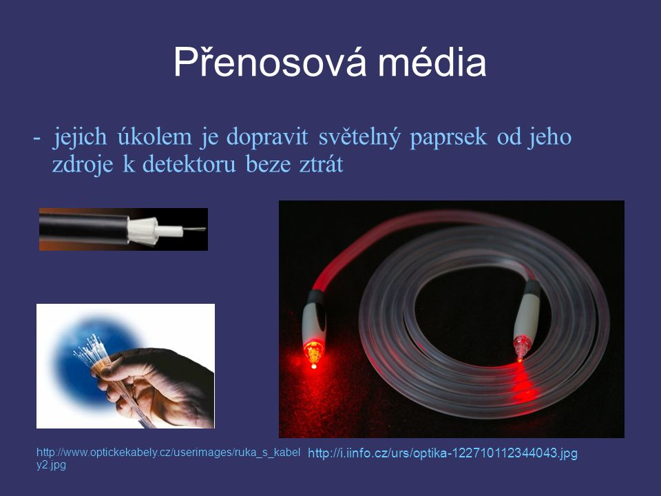Přenosová média - jejich úkolem je dopravit světelný paprsek od jeho zdroje k detektoru beze ztrát http://i.iinfo.cz/urs/optika-122710112344043.jpg http://www.optickekabely.cz/userimages/ruka_s_kabel y2.jpg