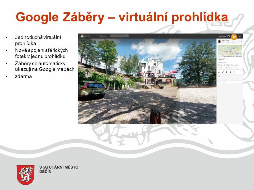 Google Záběry – virtuální prohlídka Jednoduchá virtuální prohlídka Nově spojení sférických fotek v jednu prohlídku Záběry se automaticky ukazují na Google mapách zdarma