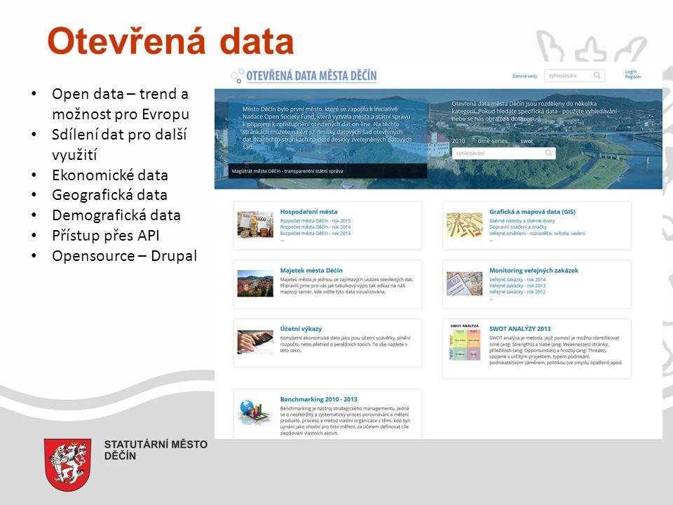 Otevřená data Open data – trend a možnost pro Evropu Sdílení dat pro další využití Ekonomické data Geografická data Demografická data Přístup přes API Opensource – Drupal